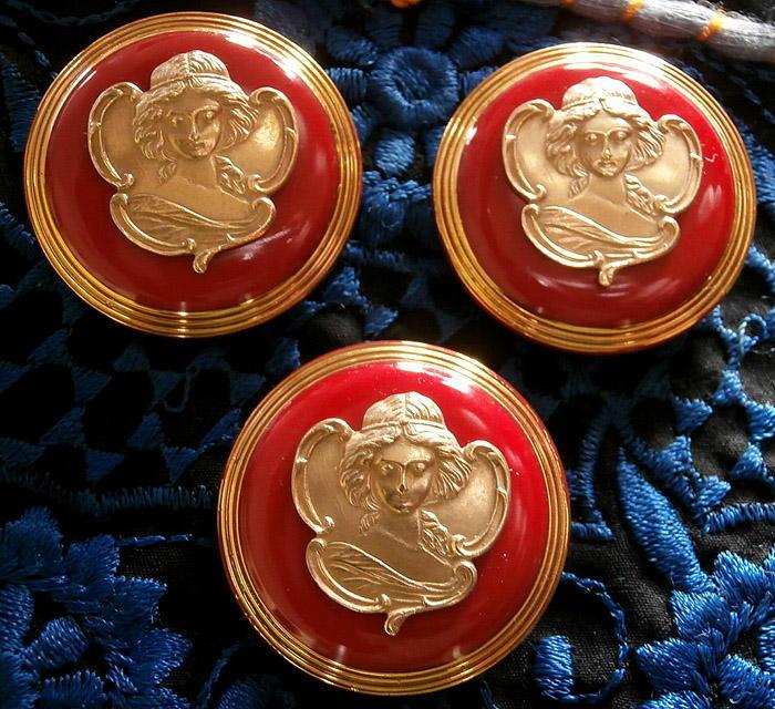 Art Nouveau A MUCHA 1860-1939 3 Unique TURQUOISE Glass//Brass Buttons #G678