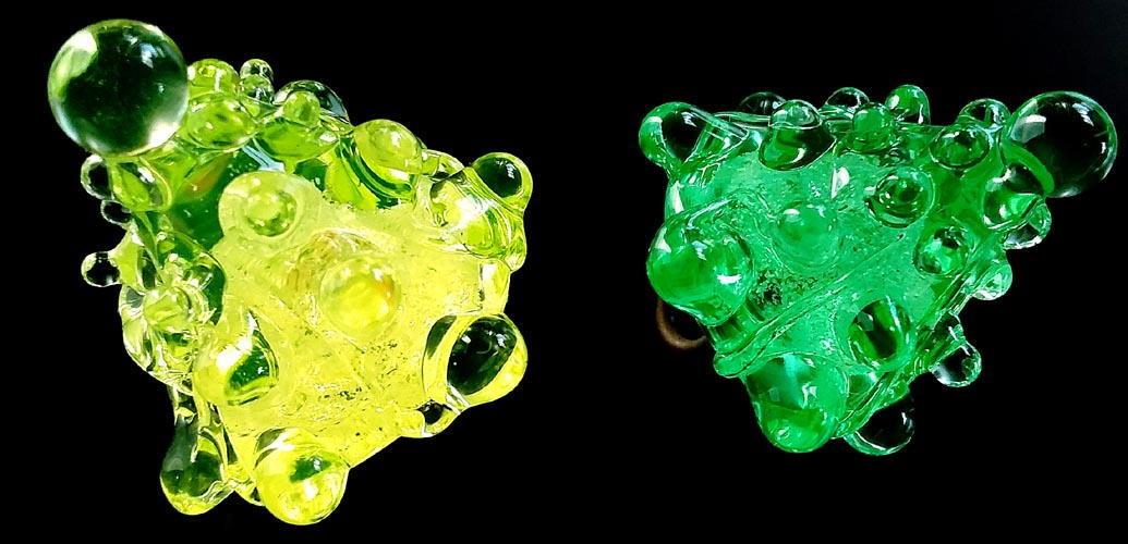 "3 Czech Vaseline Glass Buttons #B136-30 mm or 1-1//4/"" WOW!! PYRAMIDAL SHAPE!!"