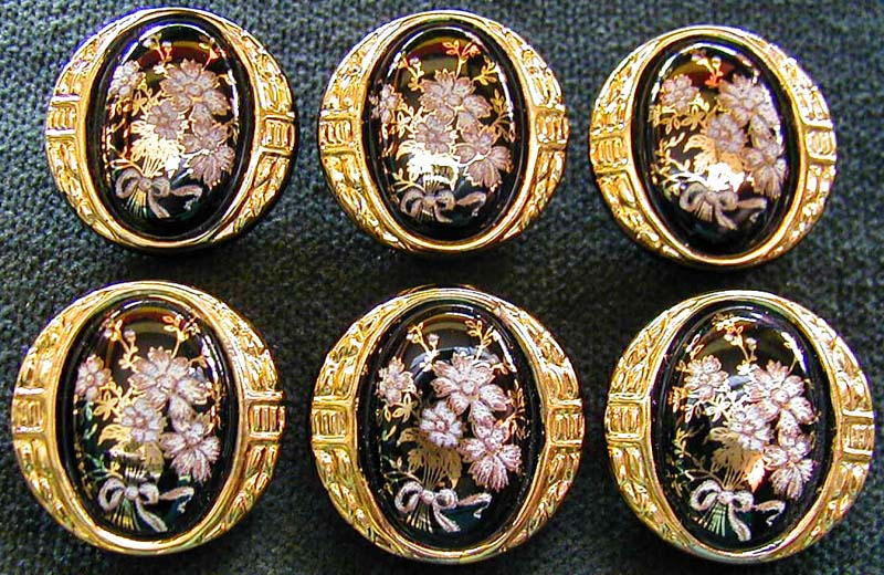 Buttons #D235-24 Carat GOLD EDGE 1920/'s 12 Czech Glass ANTIQUE